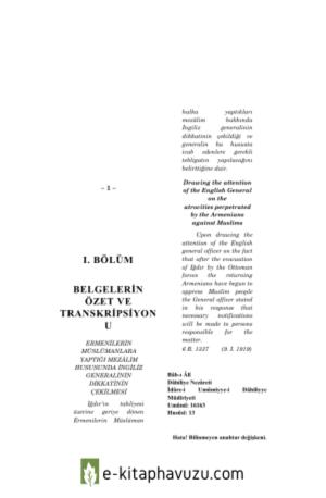 Arşiv Belgelerine Göre Kafkaslar'Da Ve Anadolu'Da Ermeni Mezâlimi Iı 1919