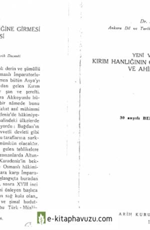 Yeni Vesikalara Göre Kırım Hanlığı'nın Osmanlı Tabiliğine Girmesi Ve Ahidname Meselesi