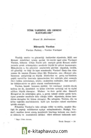 Hrand Andreasyan - Türk Tarihinde Ermeni Kaynakları