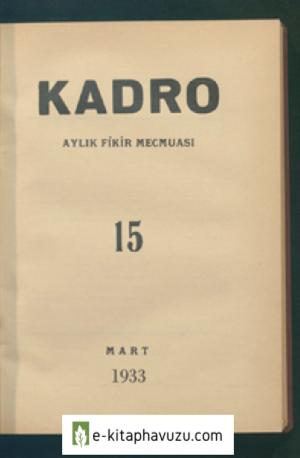 Kadro Dergisi Sayı 15 - Mart 1933