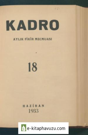 Kadro Dergisi Sayı 18 - Haziran 1933
