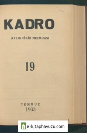 Kadro Dergisi Sayı 19 - Temmuz 1933