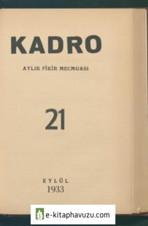Kadro Dergisi Sayı 21 - Eylül 1933