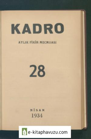 Kadro Dergisi Sayı 28 - Nisan 1934