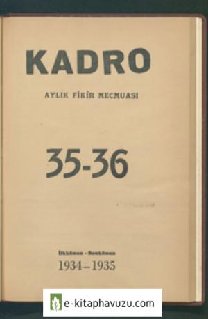 Kadro Dergisi Sayı 35-36 - İlkkânun, Sonkânun 1934 - 1935